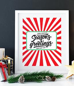 """Новогодний постер """"Season's Greetings"""" (2 размера)"""