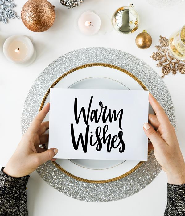 """Стильная новогодняя открытка """"Warm Wishes"""""""