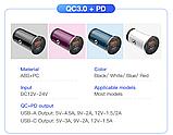 Автомобильное зарядное устройство адаптер KUULAA KL-CD09-P USB/type-C 3A QC 3.0 PD 4.0 42Вт Цвет Белый, фото 4