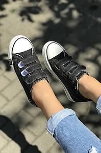 Кеды женские джинсовые черные 120997P