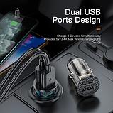 Автомобильное зарядное устройство KUULAA модель KL-CD09-J 2 USB 3A QC 3.0 17Вт Прозрачная, фото 6