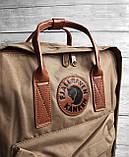 Рюкзак сумка канкен Fjallraven Kanken №2 темный беж (св.коричневый) с коричневыми ручками женский, для девочки, фото 7