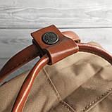 Рюкзак сумка канкен Fjallraven Kanken №2 темный беж (св.коричневый) с коричневыми ручками женский, для девочки, фото 6