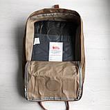 Рюкзак сумка канкен Fjallraven Kanken №2 темный беж (св.коричневый) с коричневыми ручками женский, для девочки, фото 8