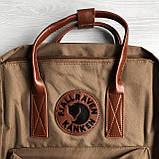 Рюкзак сумка канкен Fjallraven Kanken №2 темный беж (св.коричневый) с коричневыми ручками женский, для девочки, фото 10