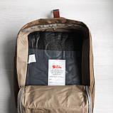 Рюкзак сумка канкен Fjallraven Kanken №2 темный беж (св.коричневый) с коричневыми ручками женский, для девочки, фото 9