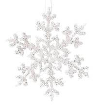 Набор (3шт) новогоднего декора Снежинка 14см, цвет - белый BonaDi 787-047