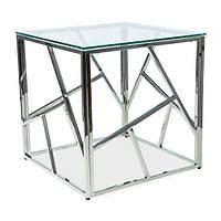Журнальный стеклянный столик в форме куба Signal Escada B 55x55см с хромом каркасом для спальни модерн