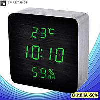 Электронные настольные часы-будильник Led Wood Clock VST-872S-4 - часы с индикатором влажности и температуры
