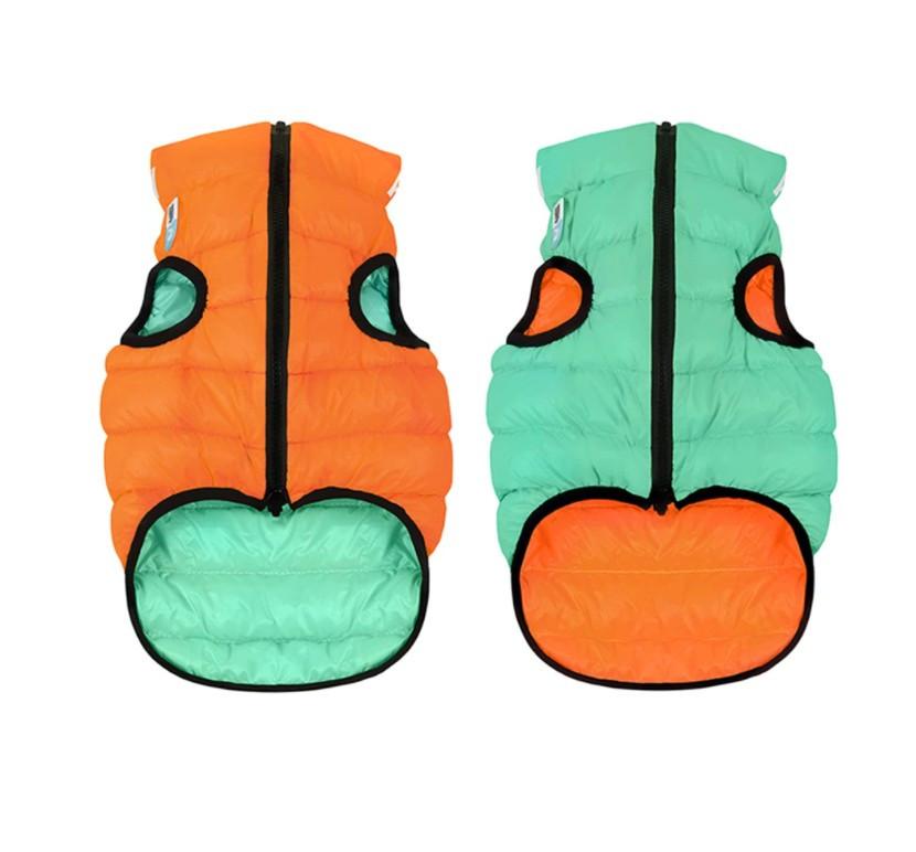 Курточка  Airy Vest Lumi  (ЕйриВест Люми)  для собак двухсторонняя салатово-оранжевая, XS 22