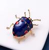 Брошь брошка значок металлический синий жук насекомое, фото 3