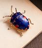 Брошь брошка значок металлический синий жук насекомое, фото 5