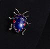 Брошь брошка значок металлический синий жук насекомое, фото 6