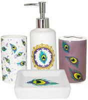 Набор аксессуаров Павлиний глаз для ванной комнаты 4 предмета керамика psgST-888-06-015, КОД: 2369331