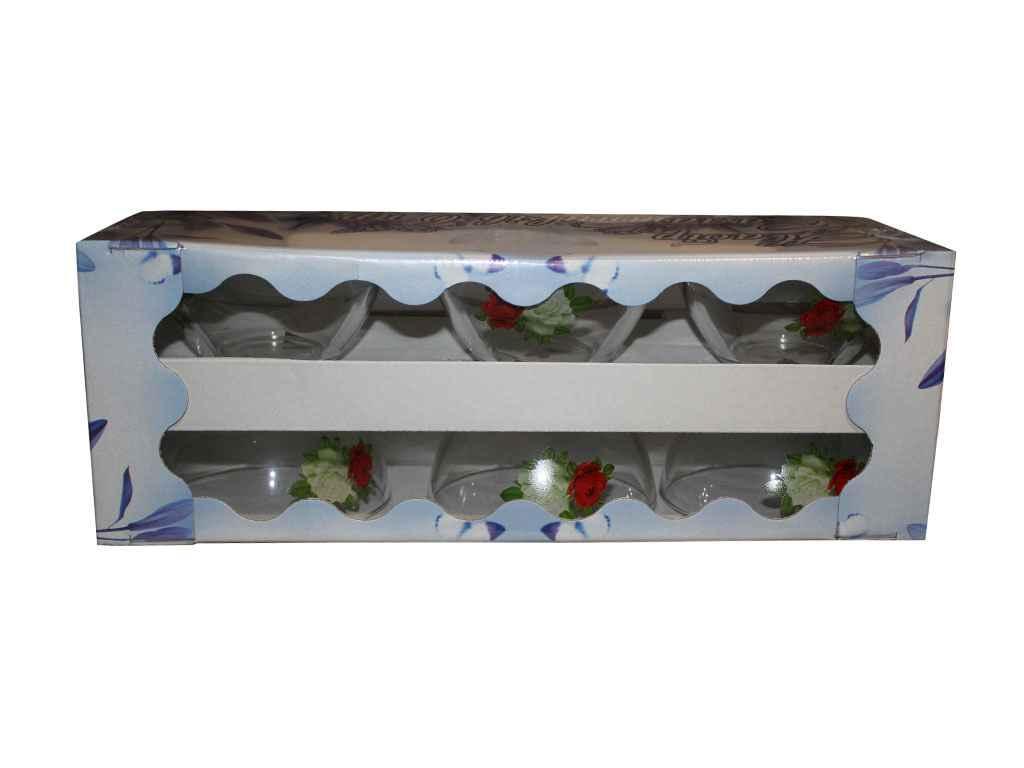 Набір салатників скляних 1/6(6*200мл) Букет троянд ТМ ОСЗ