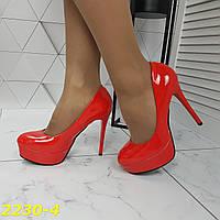 Туфли красные на шпильке с платформой, фото 1