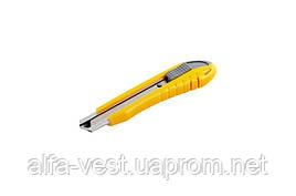 Нож 18 мм ABS пластик с металлической направляющей кнопочный фиксатор 3 лезвия MASTERTOOL 17-0101