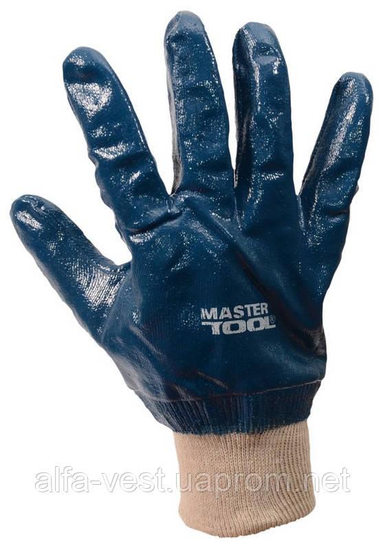 """Перчатки масло-бензостойкие утепленные, нитриловое покрытие, вязаный манжет (синие),10,5"""" 104-108 г MASTERTOOL"""