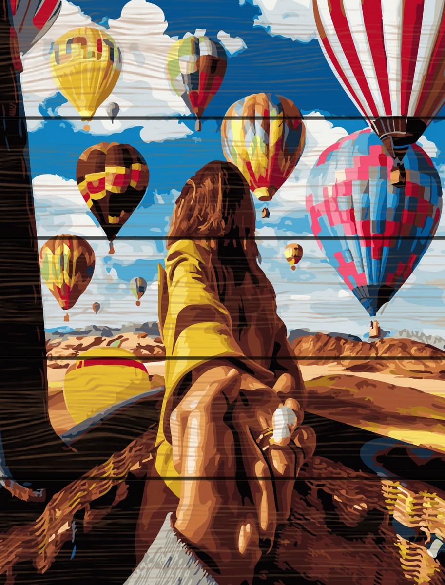 Картина по номерам на дереве Следуй за мной Воздушные шары 40*50 см. Rainbow Art