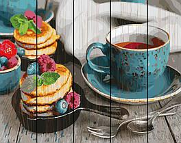 Картина по номерам на дереве Чай с оладушками 40*50 см. Rainbow Art