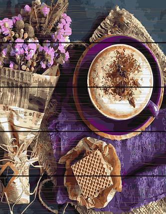 Картина по номерам на дереве Капучино и цветы 40*50 см. Rainbow Art, фото 2