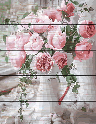 Картина по номерам на дереве Нежность роз 40*50 см. Rainbow Art, фото 2