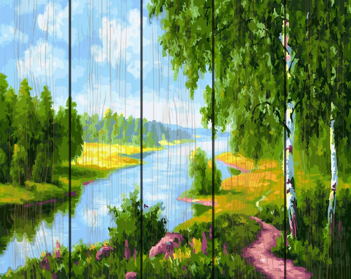 Картина по номерам на дереве Березки у реки 40*50 см. Rainbow Art