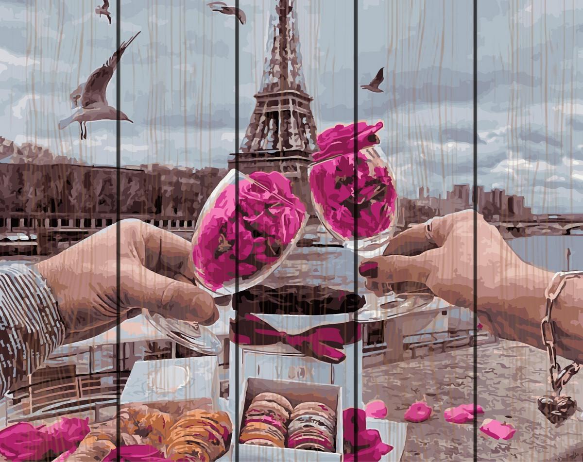 Картина за номерами на дереві Романтика Парижа 40*50 см. Rainbow Art