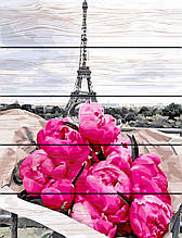 Картина по номерам на дереве Пионы в Париже 40*50 см. Rainbow Art