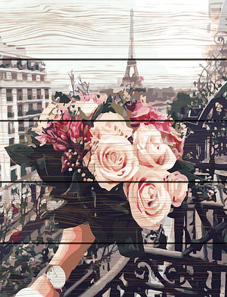 Картина по номерам на дереве Розы в Париже 40*50 см. Rainbow Art, фото 2