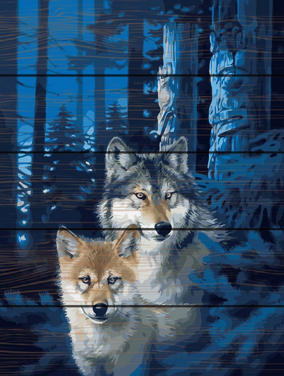 Картина по номерам на дереве Ночные волки 40*50 см. Rainbow Art