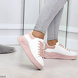 Ультра модные молодежные белые женские кроссовки с розовым декором, фото 3