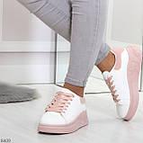 Ультра модные молодежные белые женские кроссовки с розовым декором, фото 4