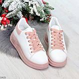 Ультра модные молодежные белые женские кроссовки с розовым декором, фото 5