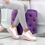 Ультра модные молодежные белые женские кроссовки с розовым декором, фото 7