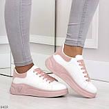 Ультра модные молодежные белые женские кроссовки с розовым декором, фото 8