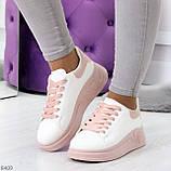 Ультра модные молодежные белые женские кроссовки с розовым декором, фото 9