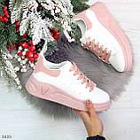 Ультра модные молодежные белые женские кроссовки с розовым декором, фото 10
