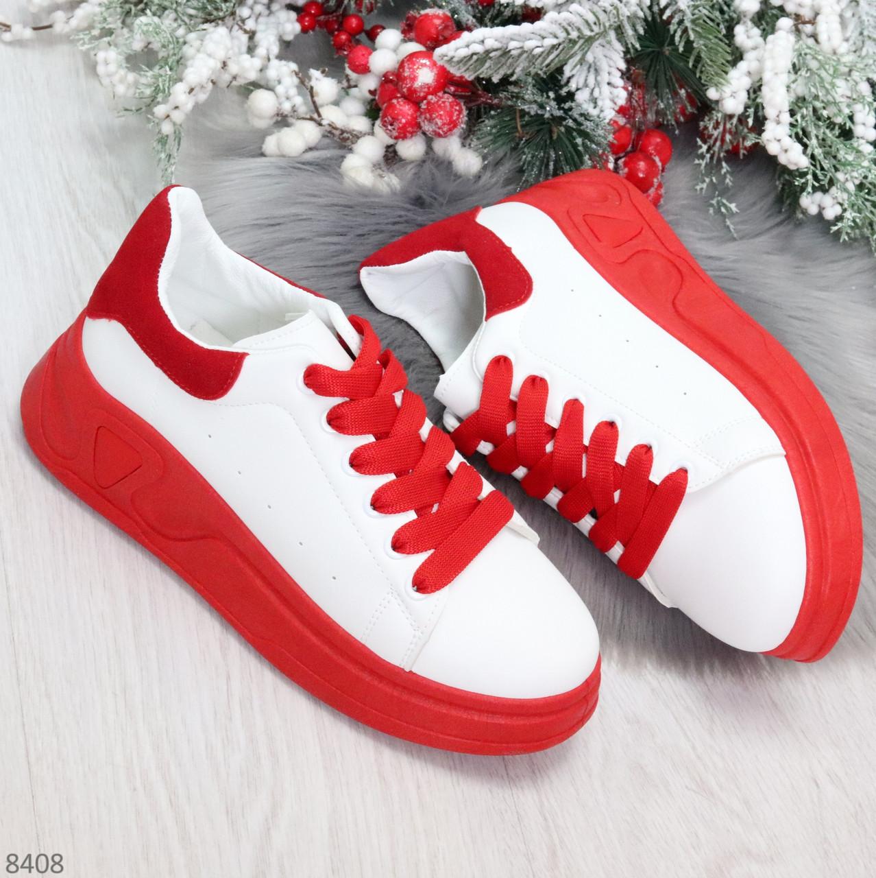 Ультра модные молодежные белые женские кроссовки с красным декором