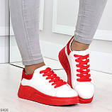 Ультра модные молодежные белые женские кроссовки с красным декором, фото 6