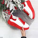 Ультра модные молодежные белые женские кроссовки с красным декором, фото 8