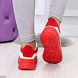 Ультра модные молодежные белые женские кроссовки с красным декором, фото 9