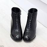 Дизайнерские черные демисезонные ботинки ботильоны на удобном каблуке, фото 2