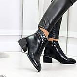 Дизайнерские черные демисезонные ботинки ботильоны на удобном каблуке, фото 3
