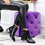 Дизайнерские черные демисезонные ботинки ботильоны на удобном каблуке, фото 5
