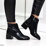 Дизайнерские черные демисезонные ботинки ботильоны на удобном каблуке, фото 6