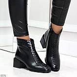 Дизайнерские черные демисезонные ботинки ботильоны на удобном каблуке, фото 8