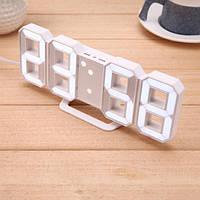 Настільні LED годинники електронні з будильником термометром від USB Caixing CX-2218 білий корпус біла підсвітка