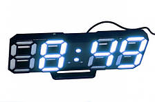 Настільні LED годинники електронні з будильником термометром від USB Caixing CX-2218 чорний корпус, синє підсвічування