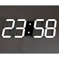 Настольные LED часы электронные с будильником термометром от USB Caixing CX-2218 черный корпус белая подсветка